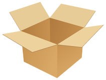 Cardboard box. Isolated opened cardboard box in white background stock illustration
