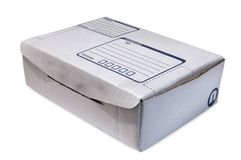 Cardboard Box - #4. White Cardboard Box over white background Royalty Free Stock Photography