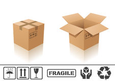 Cardboard box. Vector illustration of cardboard box. Closed and open Stock Images