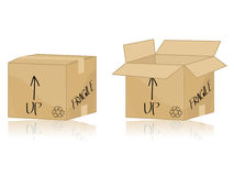 Cardboard box. Isolated on white Royalty Free Stock Photography