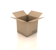 Cardboard box. Open cardboard box. 3D generated image Royalty Free Stock Image