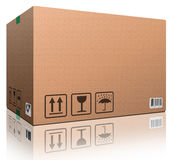 Cardboard box blank copy space. Cardboard box blank with copy space and on white brown package for shipping order moving or storage with labels and bar code royalty free illustration