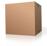 Cardboard box blank package. Cardboard box brown carton package on white background parcel for moving storage, shipping orders from web shop. With reflection royalty free illustration
