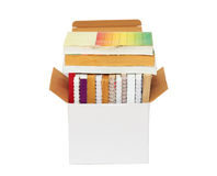 Cardboard box with books. Open cardboard box with books Royalty Free Stock Photography
