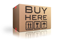 Cardboard box. Buy here cardboard shipping box Stock Photo