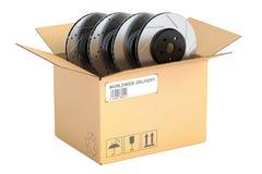 Cardboard box with car disc brake rotors, 3D rendering. Cardboard box with car disc brake rotors, 3D Stock Image