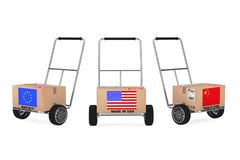 Cardboard Box with China, USA and EU Flag over Hand Truck. 3d Re. Cardboard Box with China, USA and EU Flag over Hand Truck on a white background. 3d Rendering Stock Photography