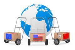 Cardboard Box with China, USA and EU Flag over Hand Truck near E. Arth Globe on a white background. 3d Rendering Stock Photos