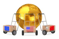 Cardboard Box with China, USA and EU Flag over Hand Truck near G. Olden Earth Globe on a white background. 3d Rendering Royalty Free Stock Photo