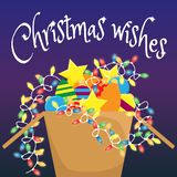 Cardboard box with Christmas decorations and glowing garland. Christmas greeting card. Christmas wishes stock illustration