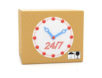 Cardboard box with clock face Stock Images