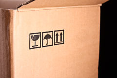 Cardboard box closeup Royalty Free Stock Photo