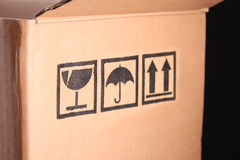 Cardboard box closeup Royalty Free Stock Photos