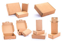 Cardboard Box. Collection of various Cardboard Box isolated on a White background Stock Photo