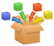 Cardboard box and color arrows Stock Photo