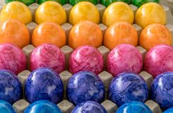 Colorful easter eggs. Cardboard box with colored easter eggs Stock Photography