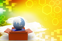 Cardboard box containing books and globe  Stock Photo