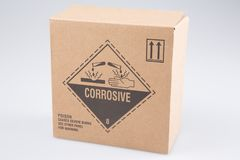 Box with corrosive danger logo product. Cardboard box with corrosive danger logo product royalty free stock images