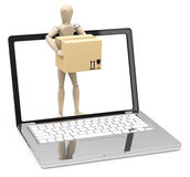 The cardboard box. 3d generated picture of a cardboardbox a figure and a laptop Stock Photos