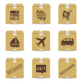 Cardboard box with delivery signs Stock Images