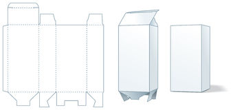 Cardboard box die-stamping - three steps of making vector illustration
