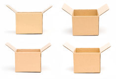 Cardboard box. Different shape cardboard boxes on isolated background stock photos