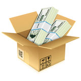 Cardboard Box with Dollar Bills Royalty Free Stock Photo