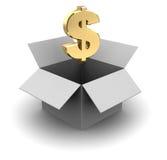 Cardboard box with dollar Stock Image
