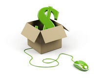Cardboard box with dollar sign. Stock Photos