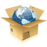 Cardboard Box with Earth Royalty Free Stock Images