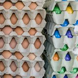 Cardboard box with easter eggs. Cardboard box with colored easter eggs stock photo
