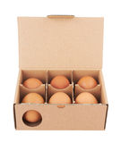 Cardboard box with eggs Stock Images