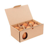 Cardboard box with eggs Royalty Free Stock Photo