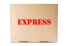 Cardboard Box with Express Label stock images