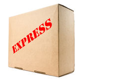 Cardboard Box with Express Label Stock Photo