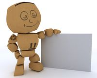 Cardboard Box figure with blank white sign. 3D render of a Cardboard Box figure with blank white sign Royalty Free Stock Photos