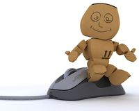 Cardboard Box figure with computer mouse. 3D render of a Cardboard Box figure with computer mouse Royalty Free Stock Image
