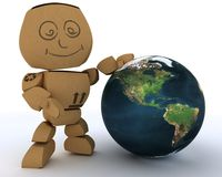 Cardboard Box figure with globe. 3D render of a Cardboard Box figure with globe Stock Image