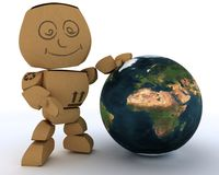 Cardboard Box figure with globe. 3D render of a Cardboard Box figure with globe Royalty Free Stock Photo