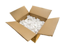 A Cardboard Box with Fill Packaging Peanuts Royalty Free Stock Image