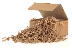 Cardboard Box and Filler Royalty Free Stock Photos