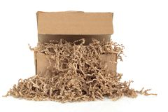 Cardboard Box and  Filler Royalty Free Stock Image