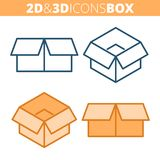 The cardboard box. Flat and isometric 3d outline icon set. The empty paper package, post carton container line pictograms. Vector linear infographic element Royalty Free Stock Photography
