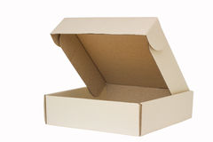 Cardboard box with flip open lid, lid open, isolated on white. Stock Photo