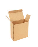 Cardboard box with flip open lid, lid open, isolated on white Royalty Free Stock Photos