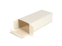 Cardboard box with flip open lid, lid open, Stock Photography