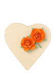 Cardboard box in the form of hearts and flowers isolated Stock Photography