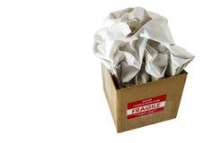 Cardboard box fragile shipping isolated Stock Image