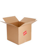 A cardboard box with fragile sticker on white Royalty Free Stock Image