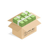 Cardboard box full of money Stock Photo